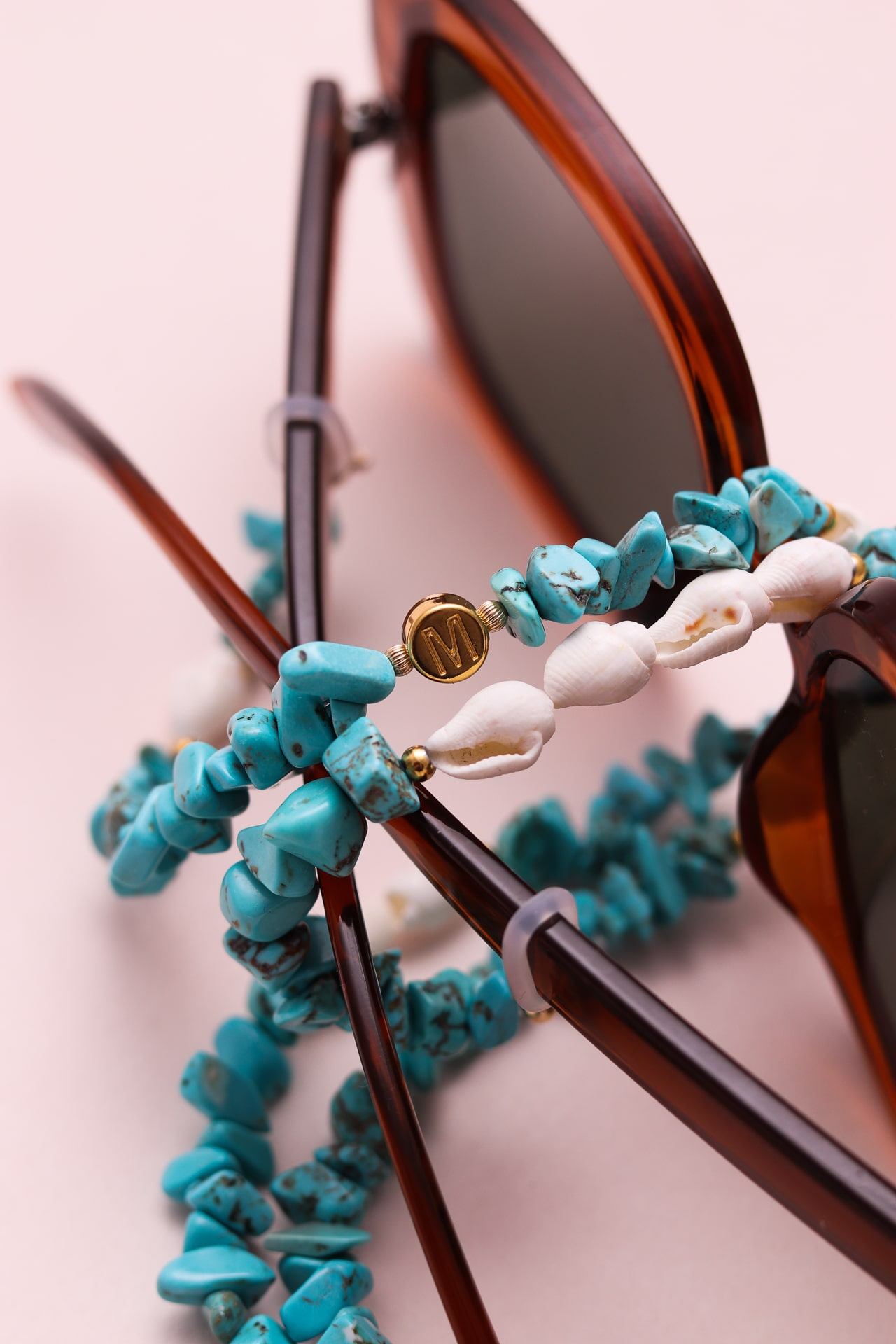 Chaine pour lunettes blanche et turquoise coquillage